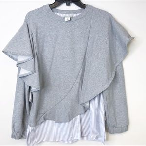 A Picture's Worth grey ruffle strip sweatshirt L